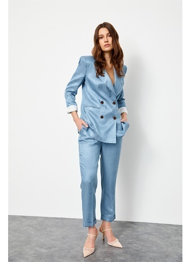 Setre Tozlu Mavi Keten Rayon Ceket Yüksek Bel Pantolon Takım  Mavi